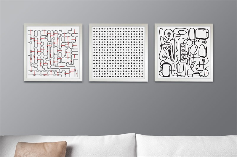 Mazes #1-3-4 in white satine frame