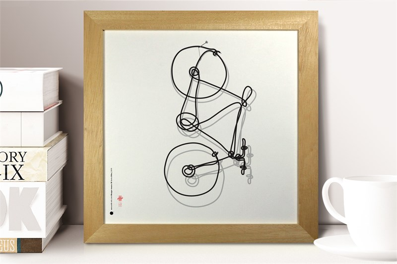 The bicycle sitting on a shelf