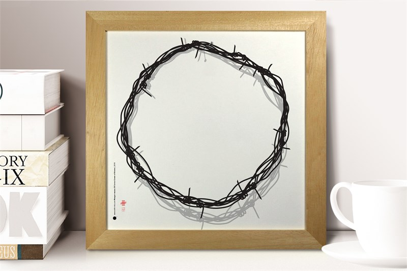 The Crown of thorns sitting on a shelf