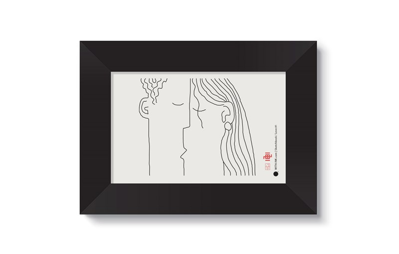 Love #1 in black satin frame
