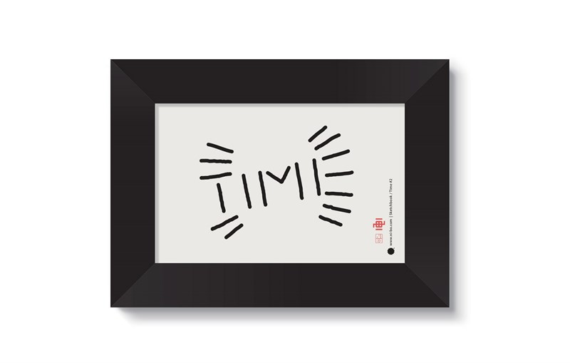 Time #2 in black satin frame